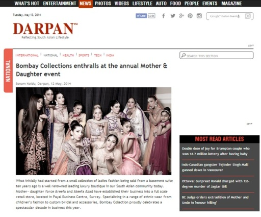 As seen in Darpan Magazine ... Mother & Daughter fashion show coverage!